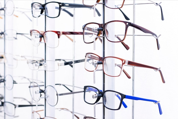 Stand with eyeglasses in the store