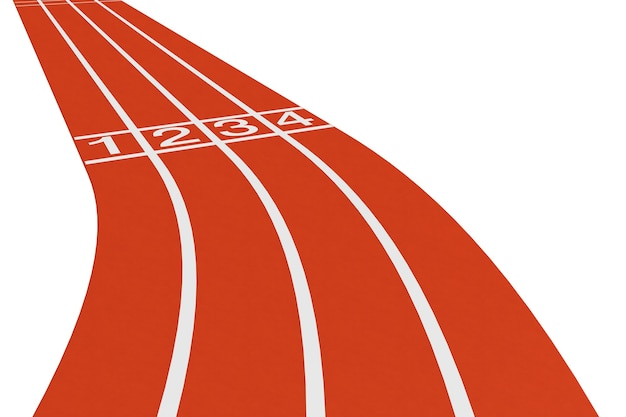 Standard running track on a white background