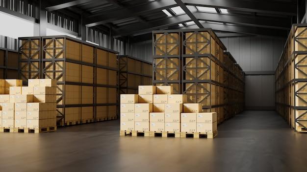 Стандартный интерьер склада с 4 поддонами и полный грузовой логистический бизнес 3d-рендеринг