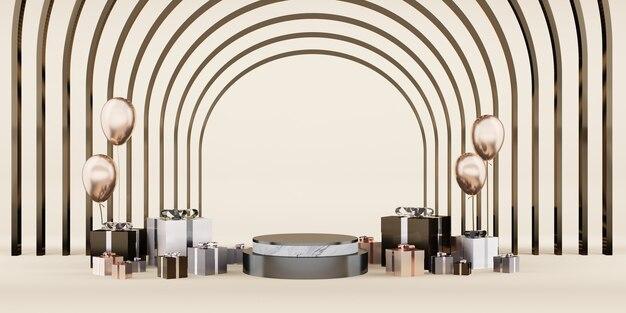 Standdisplay christmas and new year podium premium studio podium stage for product display