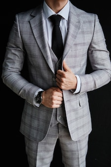 Standing character confident businessman in suit