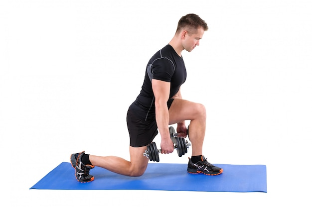 Standing dumbbell split-squat workout
