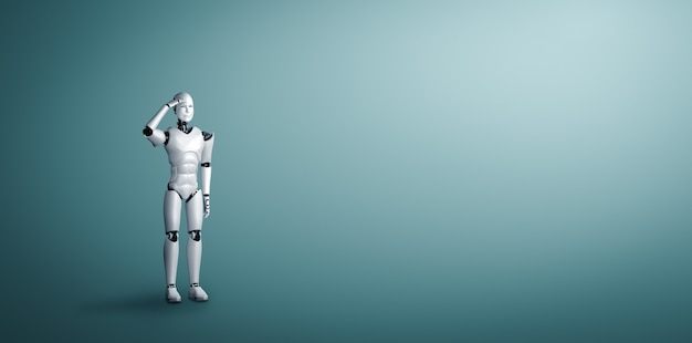 Standing humanoid robot looking forward on clean background