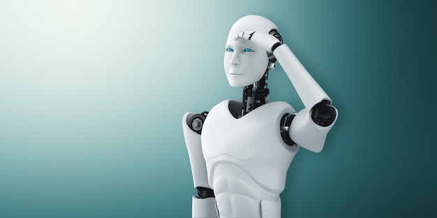 Standing humanoid robot looking forward on clean