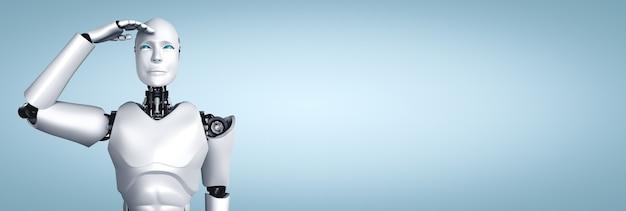 きれいな背景を楽しみにして立っているヒューマノイドロボット