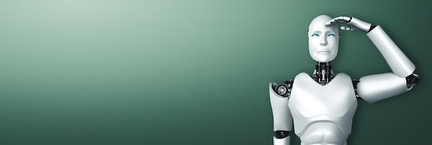 깨끗한 배경에 기대하는 휴머노이드 로봇 서
