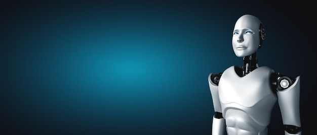 Standing humanoid robot looking forward with copy space