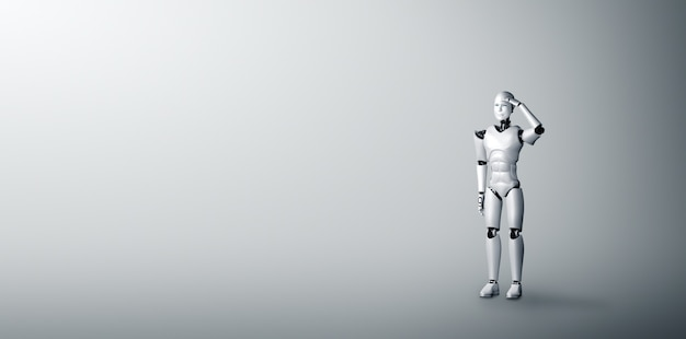 Стоящий робот-гуманоид с нетерпением ждет