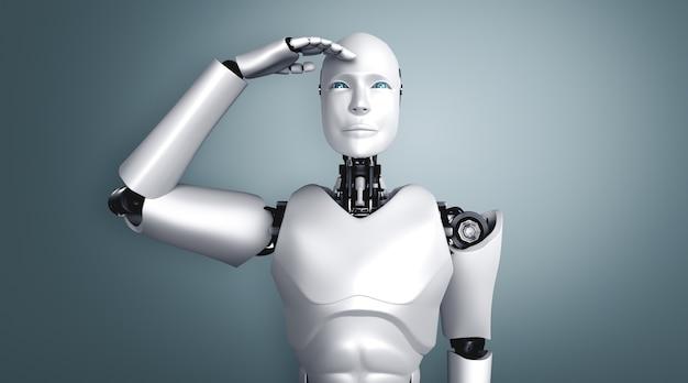 楽しみにして立っているヒューマノイドロボット