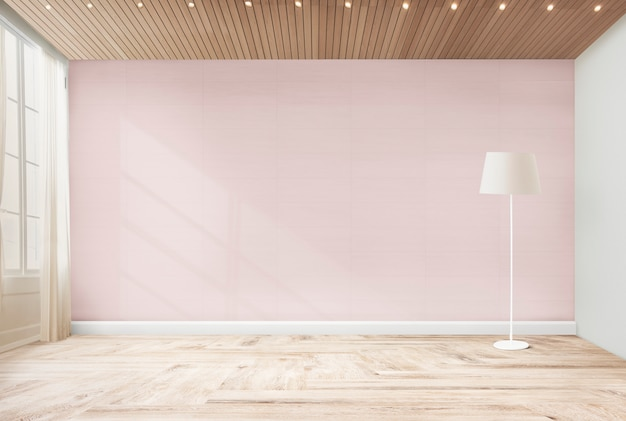 Standing lamp in a pink room