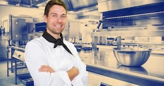 Standing male restaurant hotel equipment