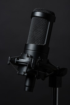 Standing microphone in studio