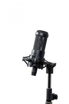 Standing microphone on white background