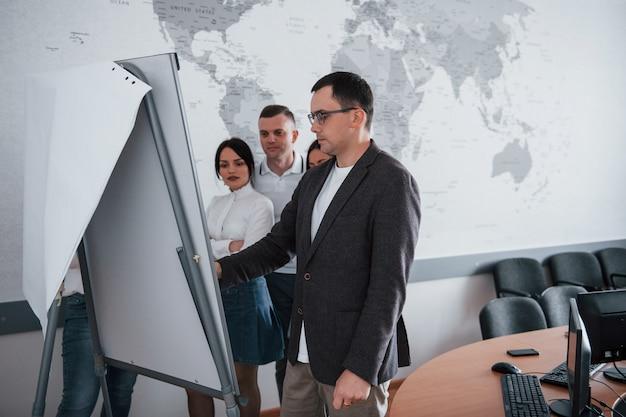 ホワイトボードの近くに立っています。教室で新しいプロジェクトに取り組んでいるビジネスマンとマネージャー