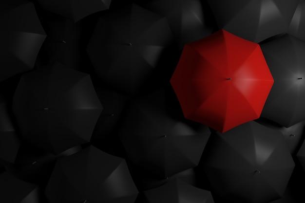 Выделяющийся из толпы красный зонт