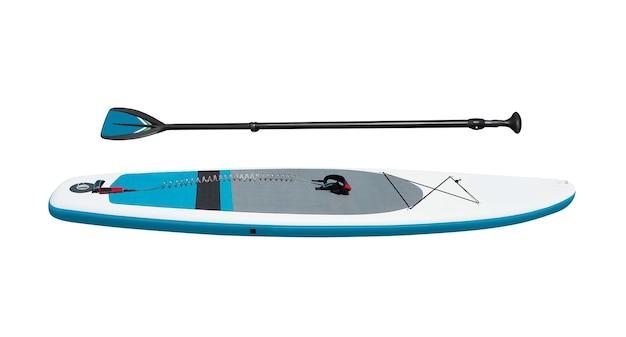 白で隔離されたsupサーフィンのためのオール付きスタンドアップパドルボード