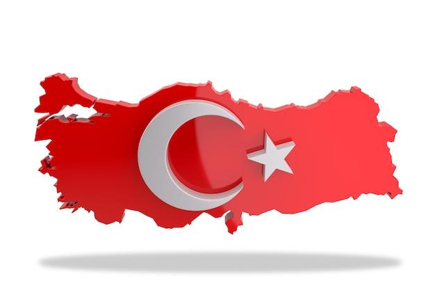 터키 지도의 별과 초승달 그림. 3d 렌더링