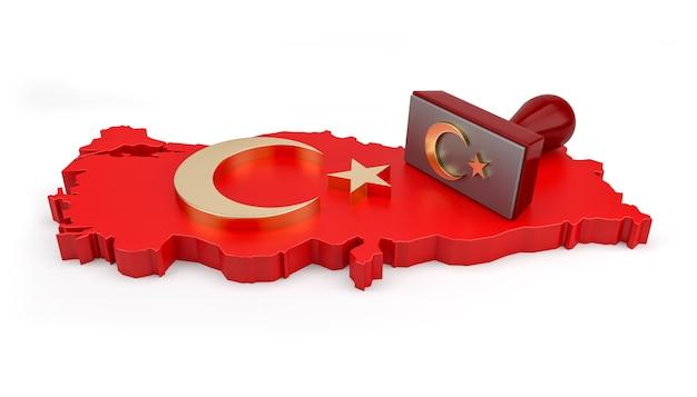 터키 지도에 스타와 초승달 스탬프입니다. 3d 렌더링