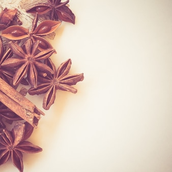 Star anise on paper with filter effect retro vintage style Premium Photo