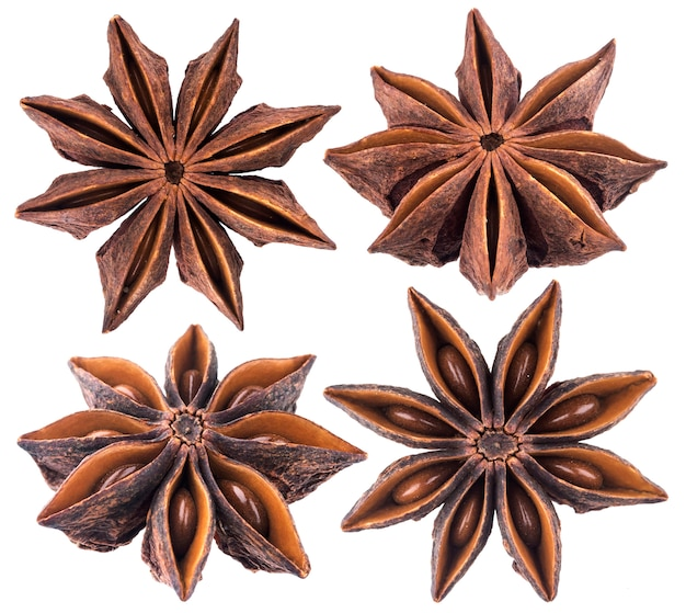 Star anise spice isolated on white