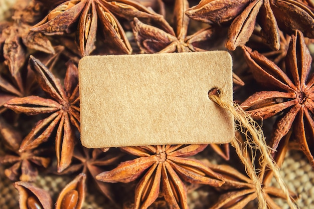 Star anise and tag. selective focus. food.