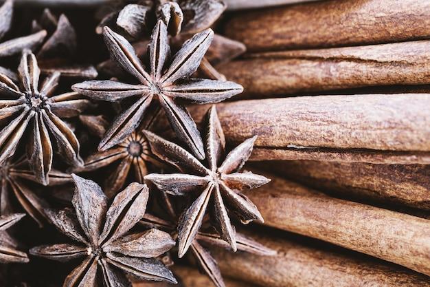 Star aniseed and cinnamon sticks close-up.