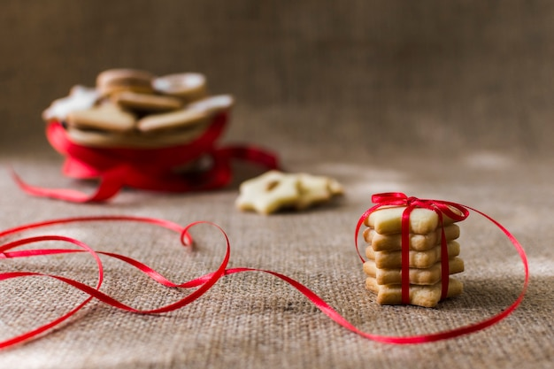 Star cookies with bright ribbon