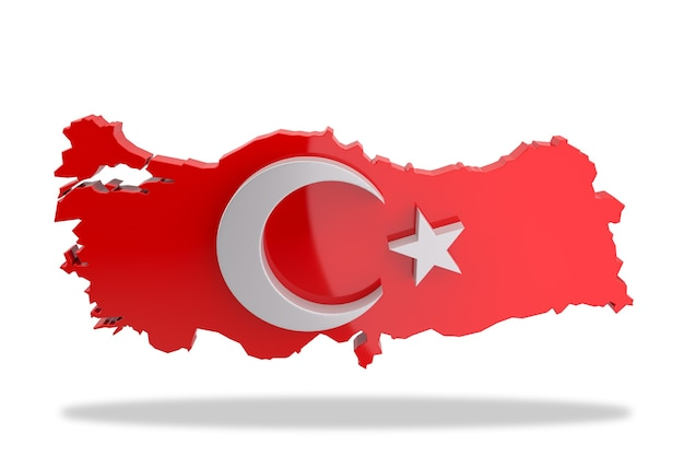 Star and crescent figure on turkey map. 3d rendering