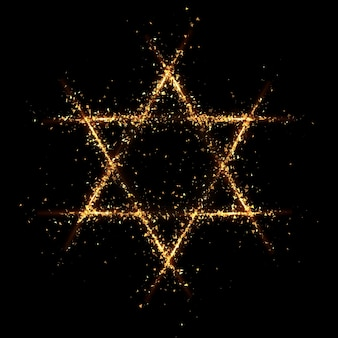 Star of david gold particle black background. 3d rendering 3d illustration.