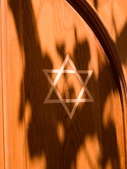 Star of david on wall of synagogue in rhodes greece