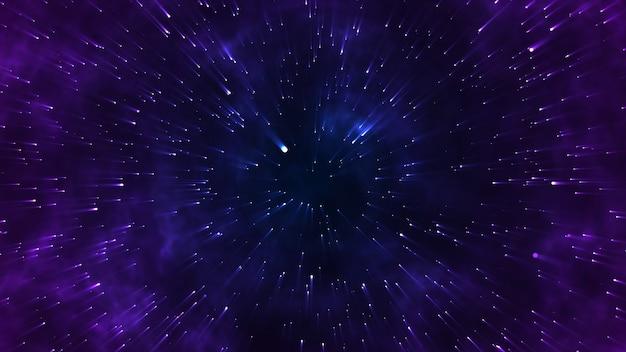 Звезда, летящая в космосе, для научных фильмов