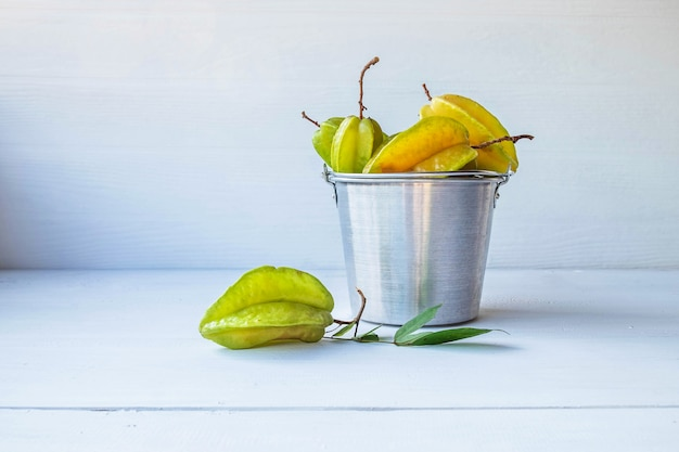 Star fruit on the white table