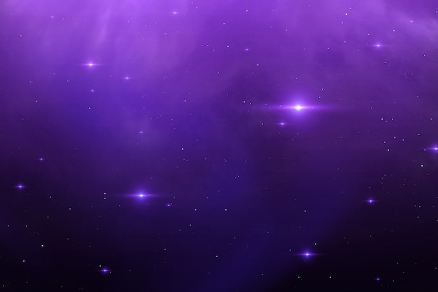 Star glow over cosmic scape.