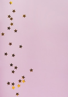 Star golden sequins with copy space