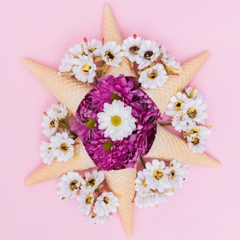 Star made of cone and flowers