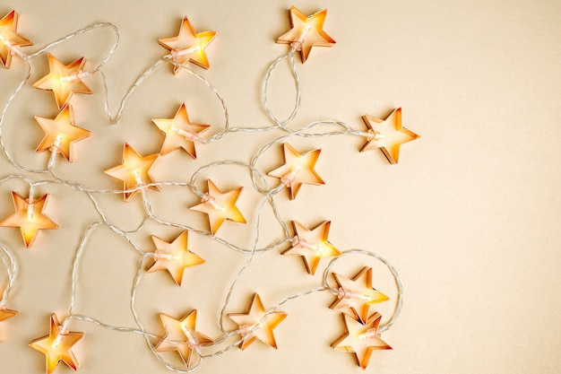 Star shaped christmas lights. flat lay, top view