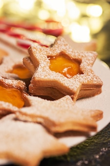 Star-shaped cookie with jam