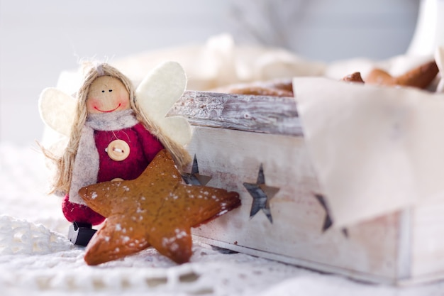 Star shaped gingerbread. cookies for santa. rustic style breakfast.