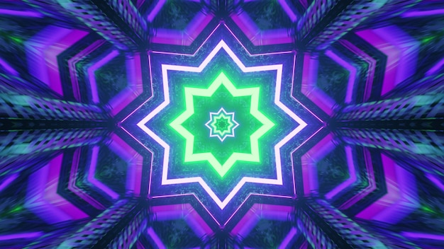 Star shaped kaleidoscope ornament with neon lights 4k uhd 3d illustration