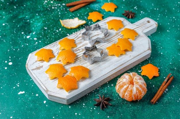 Star shaped tangerine peel for decoration.