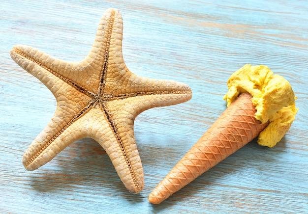 Starfish and ice cream cone