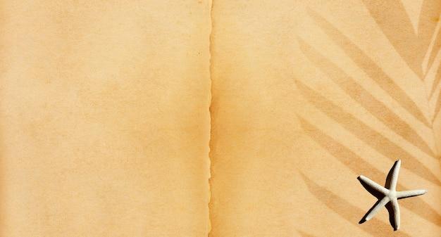 Морская звезда на старой коричневой бумаге текстуры страницы