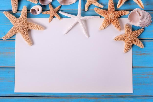 불가사리 해변 종이 포스터 오래 풍 화 블루 비치 나무 데크 프레임