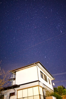 Starry night at homestay in matsumoto, japan