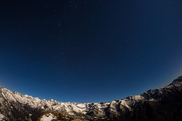 The starry sky above the alps