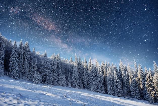 Звездное небо зимой снежная ночь. фантастический млечный путь