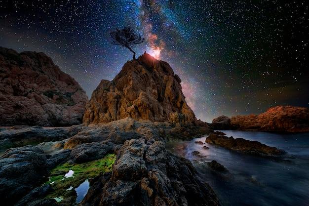 Starry sky over the sea