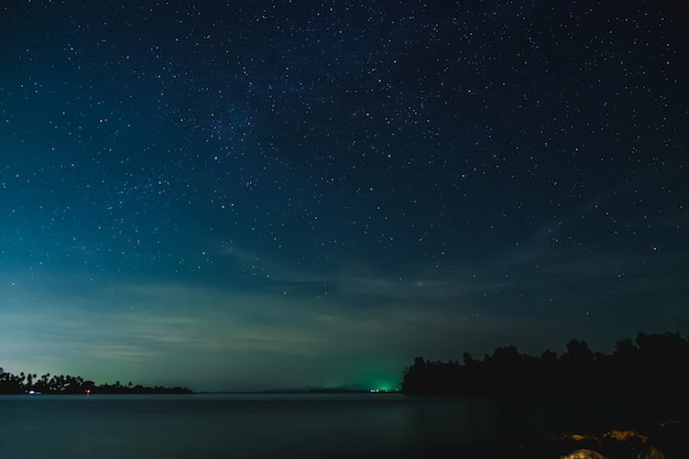 The starry sky and seascape  in the night