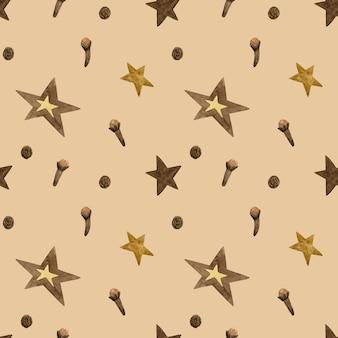 星と冬のスパイス。心地よさのシームレスパターン。茶色の手描き水彩イラスト。