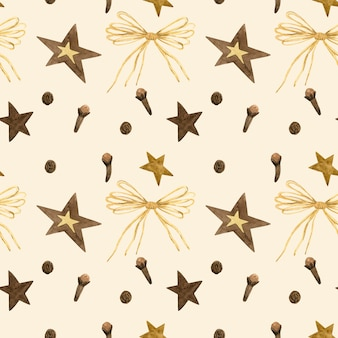 星、弓、冬のスパイス。心地よさのシームレスパターン。白の手描き水彩イラスト。